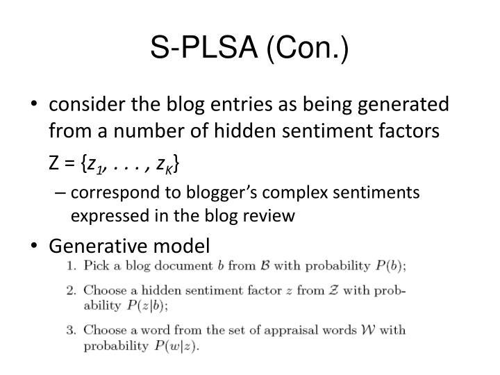 S-PLSA (Con.)