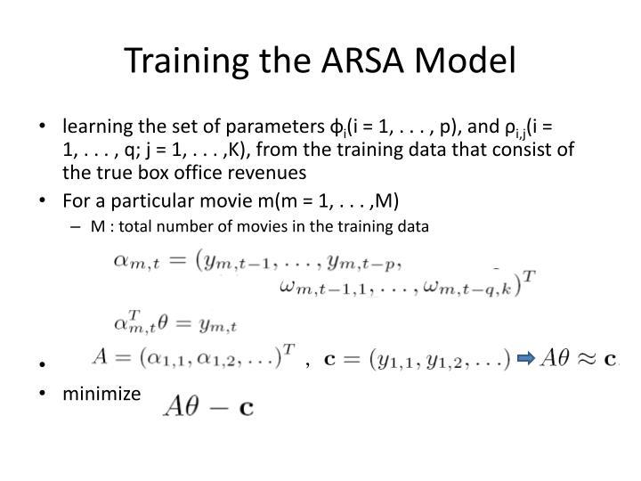 Training the ARSA Model