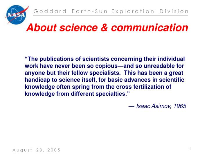 About science & communication