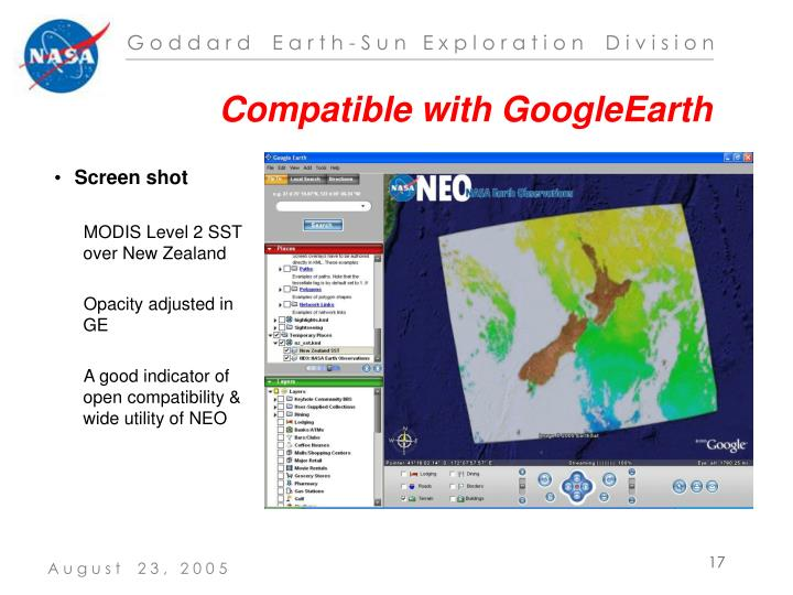Compatible with GoogleEarth