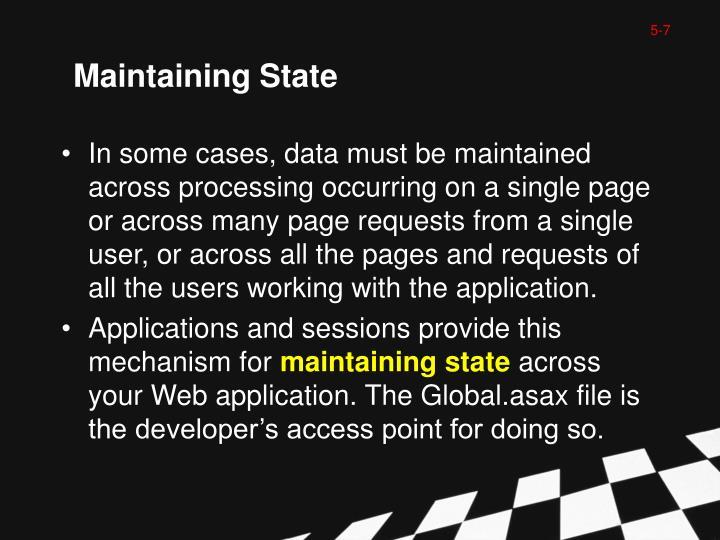 Maintaining State