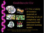 guidelines for use1