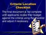 criteria location checklist