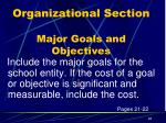 organizational section major goals and objectives