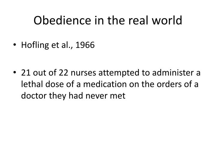 Obedience in the real world
