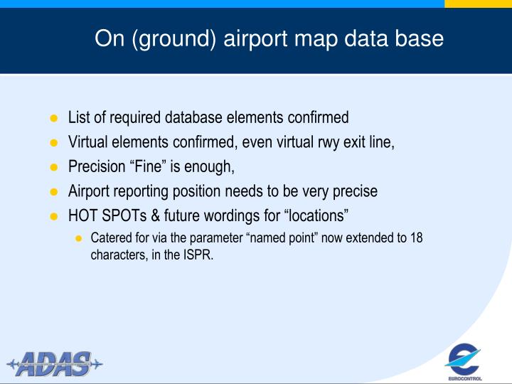 On (ground) airport map data base