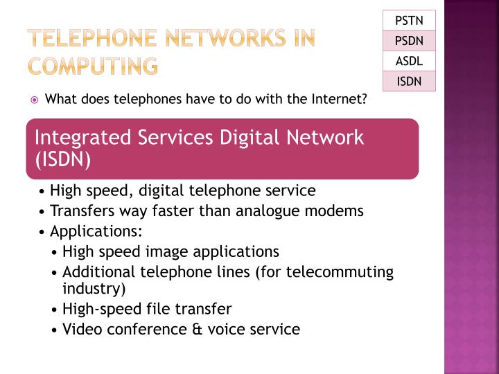 TELEPHONE NETWORKS IN COMPUTING