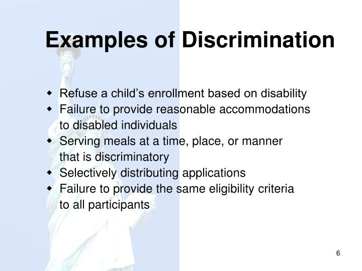 Examples of Discrimination
