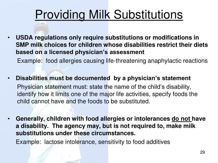 Providing Milk Substitutions