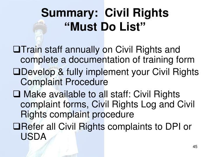 Summary:  Civil Rights