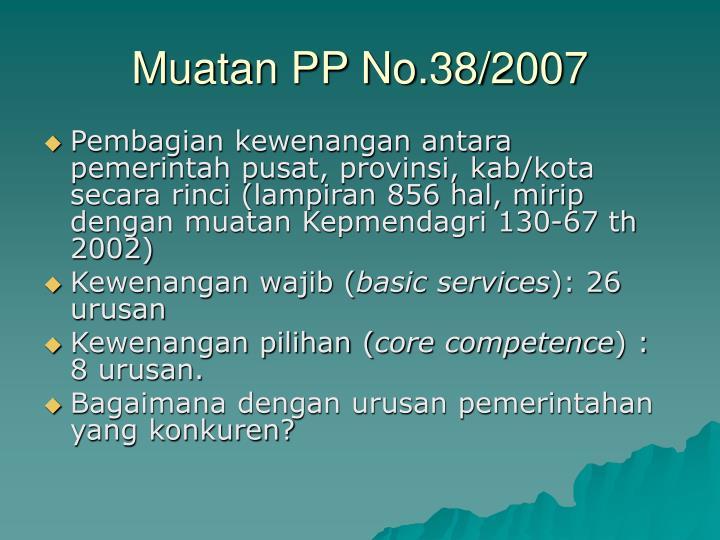 Muatan PP No.38/2007