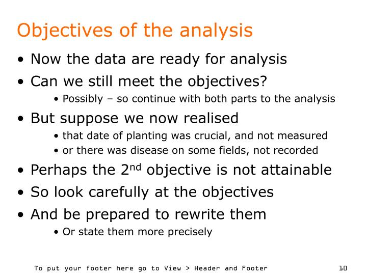 Objectives of the analysis