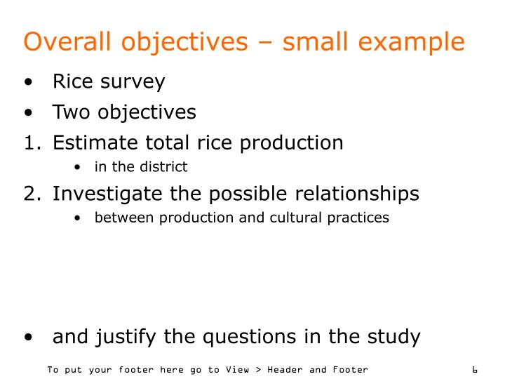 Overall objectives – small example