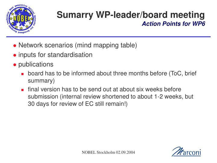 Sumarry WP-leader/board meeting