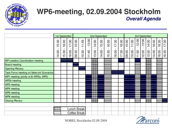 Wp6 meeting 02 09 2004 stockholm overall agenda