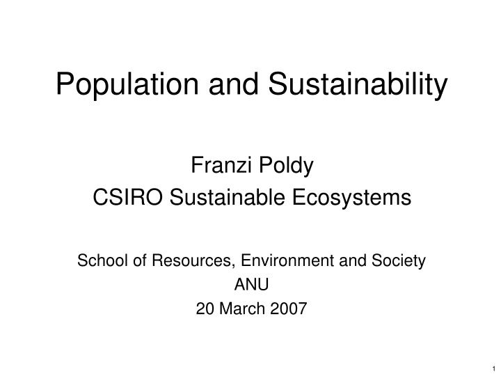 population and sustainability n.