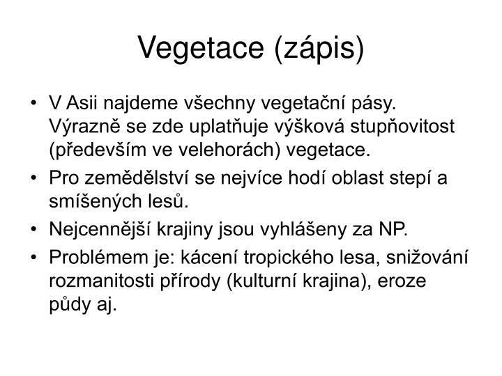 Vegetace (zápis)