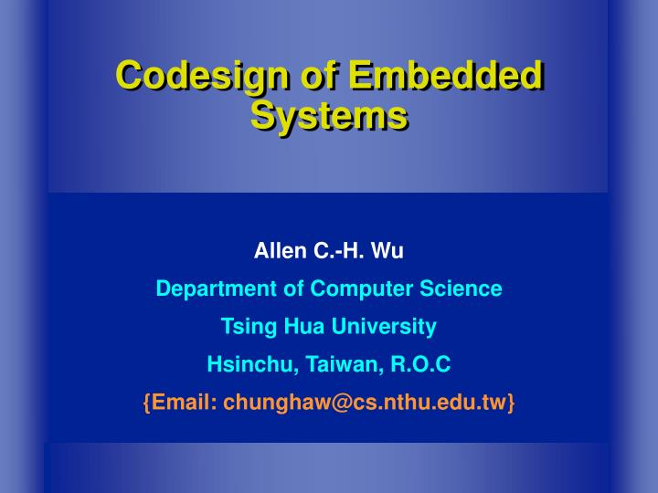 codesign of embedded systems n.