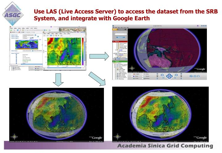 Use LAS (Live Access Server) to access the dataset from the SRB System, and integrate with Google Earth