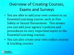 overview of creating courses exams and surveys