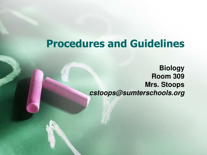 procedures and guidelines n.