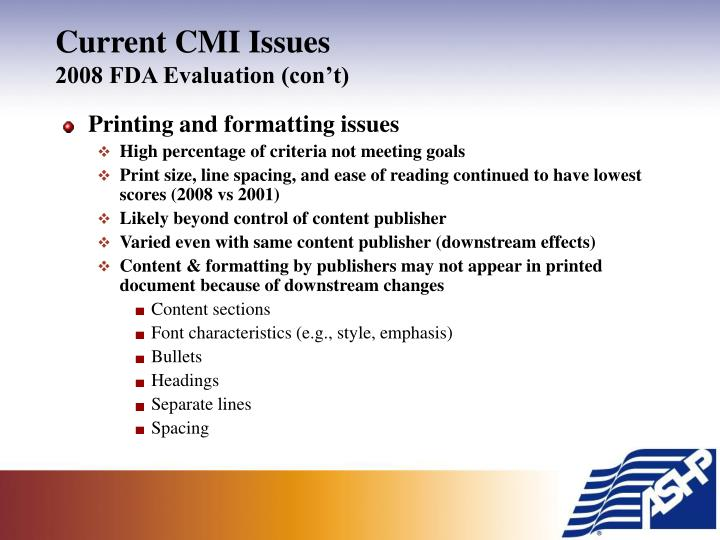 Current CMI Issues