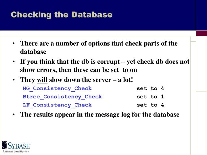 Checking the Database