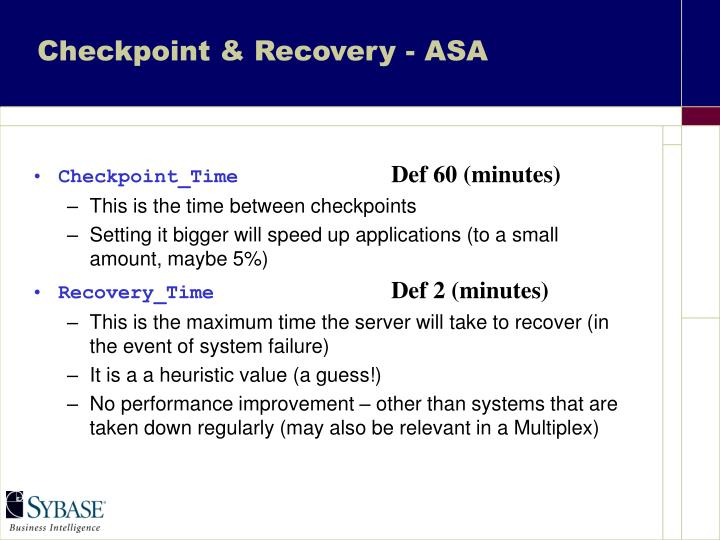 Checkpoint & Recovery - ASA