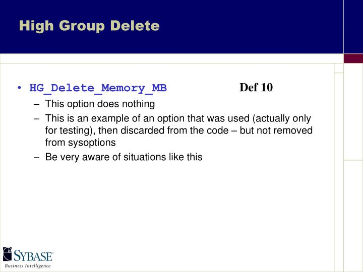 High Group Delete