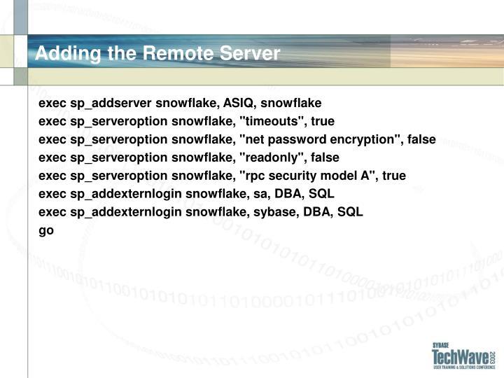 Adding the Remote Server