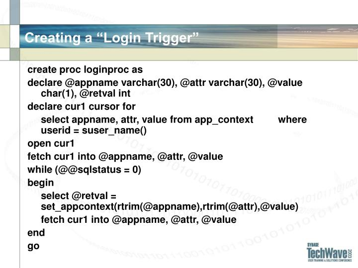"Creating a ""Login Trigger"""