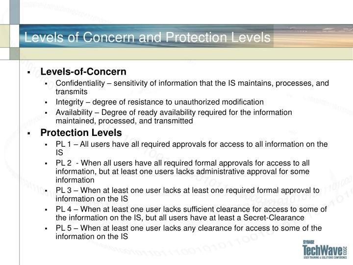 Levels of Concern and Protection Levels