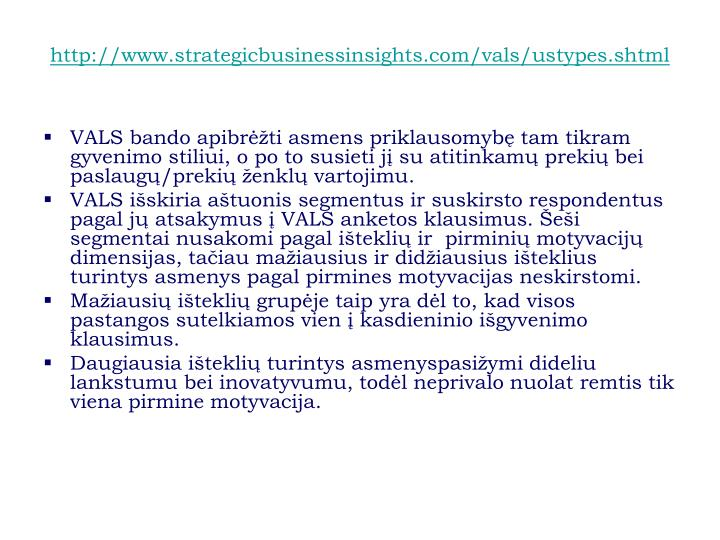 http://www.strategicbusinessinsights.com/vals/ustypes.shtml