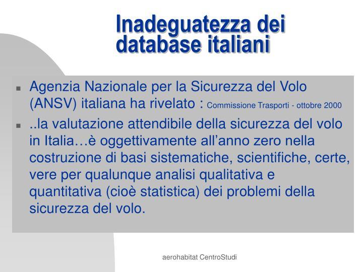 Inadeguatezza dei database italiani