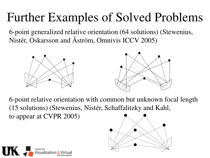Further Examples of Solved Problems
