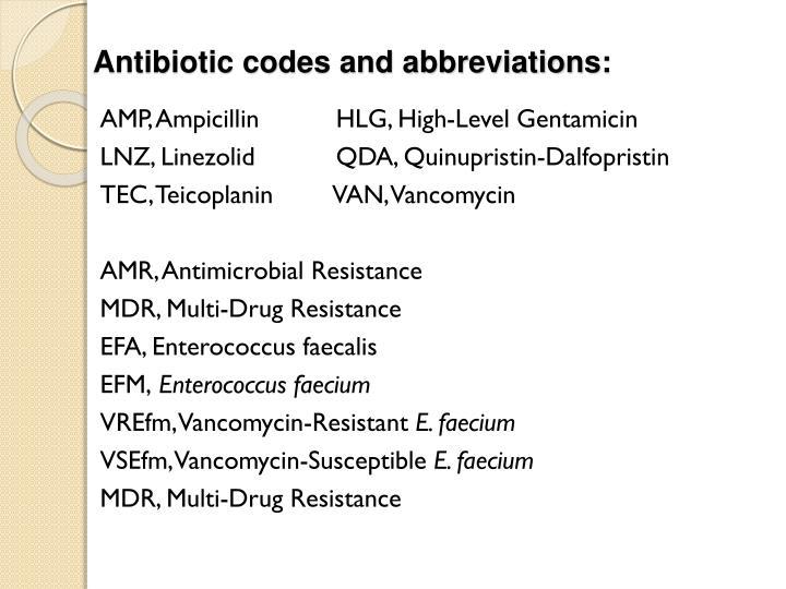 Antibiotic codes and abbreviations: