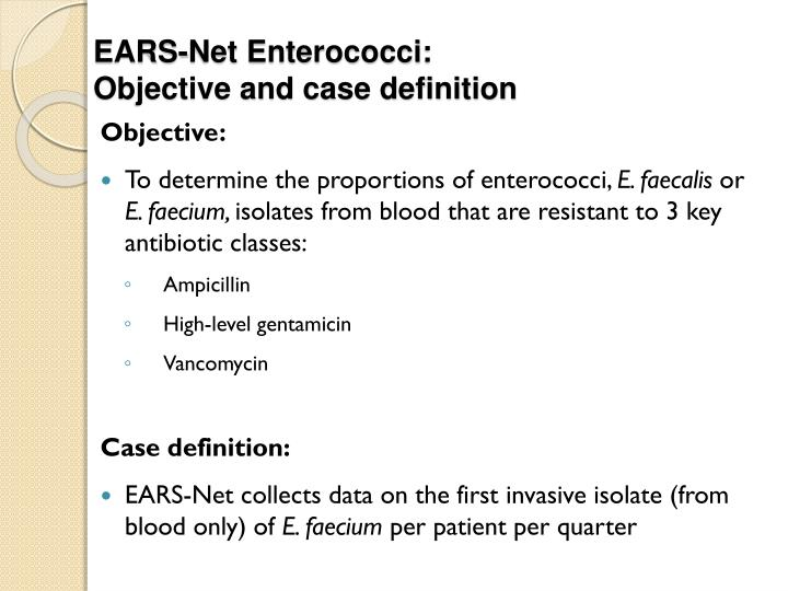 Ears net enterococci objective and case definition