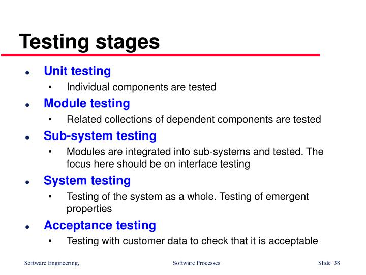 Testing stages