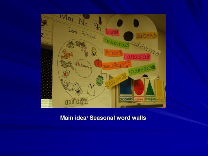 Main idea/ Seasonal word walls