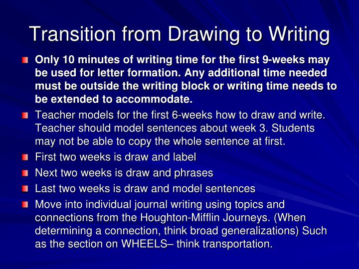 Transition from Drawing to Writing