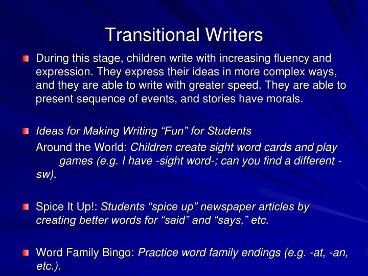 Transitional Writers