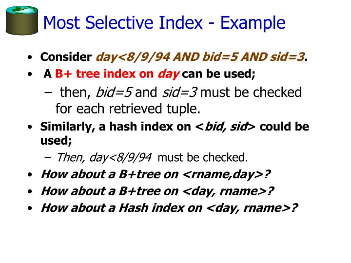 Most Selective Index - Example