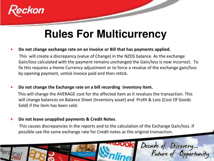 Rules For Multicurrency