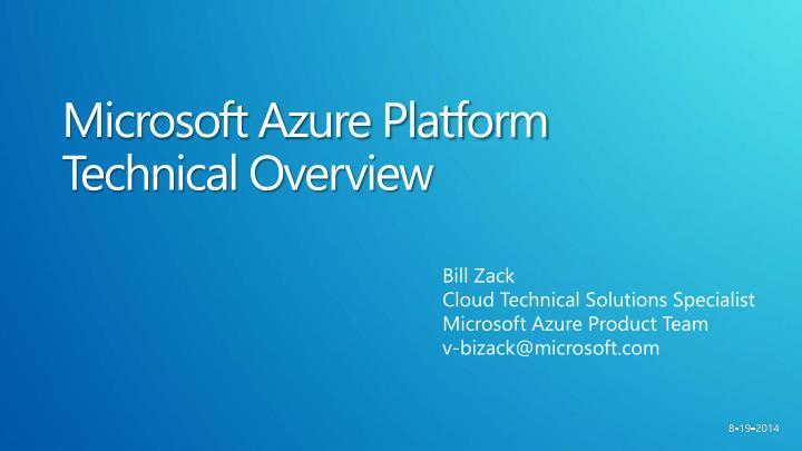 microsoft azure platform technical overview n.