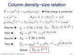 column density size relation