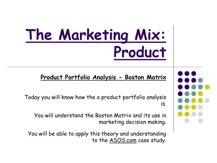 the marketing mix product n.