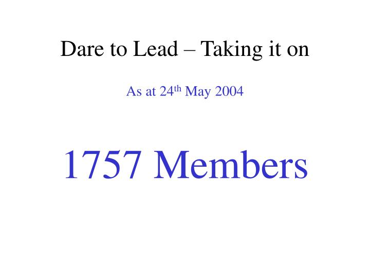 Dare to Lead – Taking it on