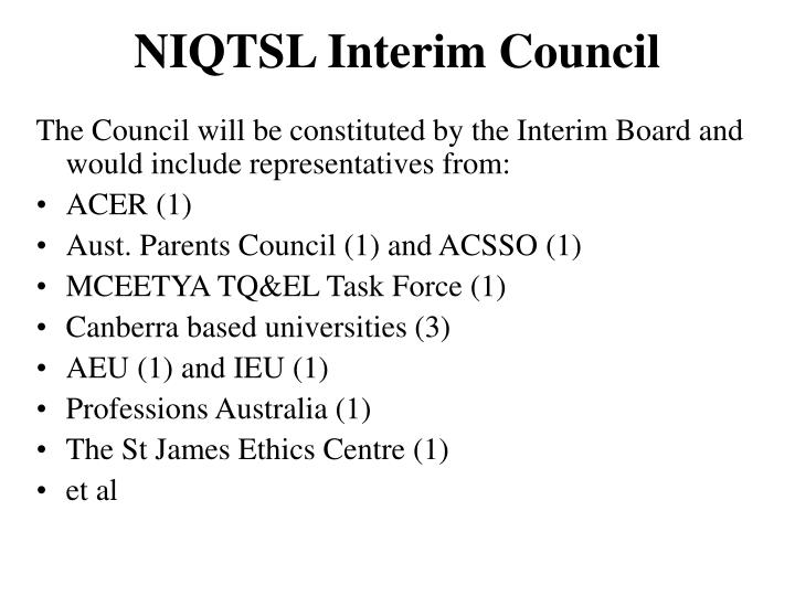 NIQTSL Interim Council