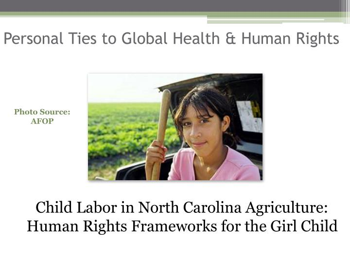 Personal Ties to Global Health & Human Rights