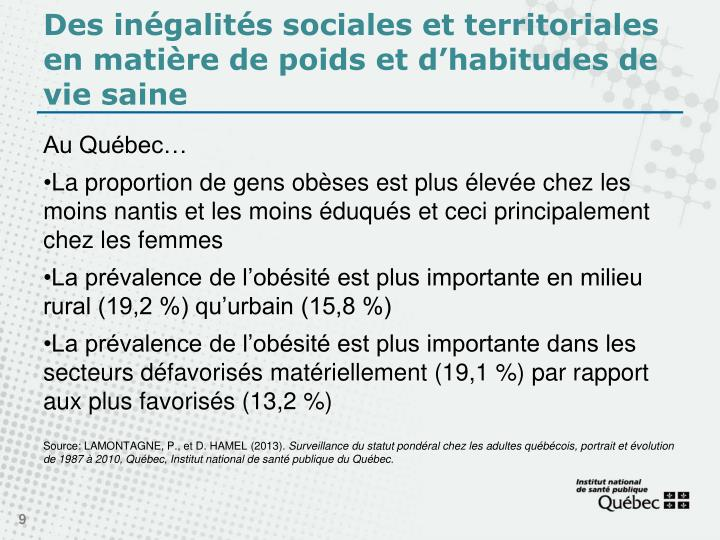 Des inégalités sociales et territoriales en matière de poids et d'habitudes de vie saine